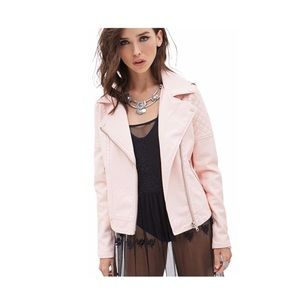 Forever21 Quilted Moto Jacket Vegan Leather Pink S